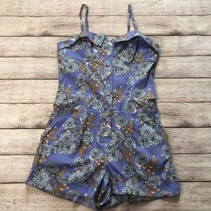 Pins and Needles blue floral romper NWOT cotton